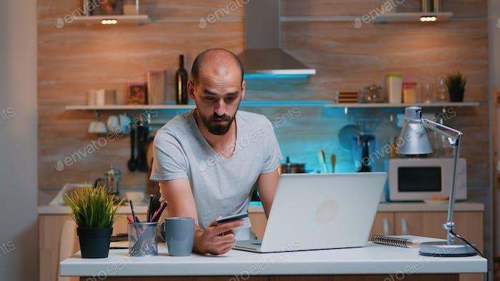 Freelancer making transaction using credit card