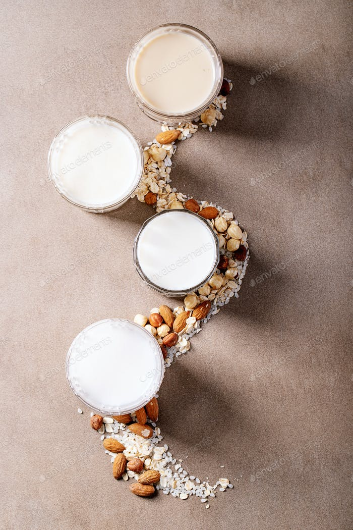 Almond, hazelnut, oat and rice milk