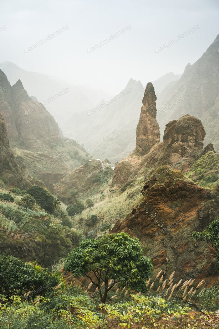 Mountain peaks of Xo-Xo valley of Santa Antao island, Cape Verde. Many cultivated plants growing in