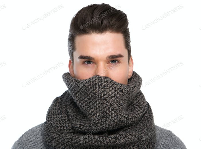 Cool guy with gray scarf covering face