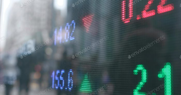 Stock market showing the prices of index