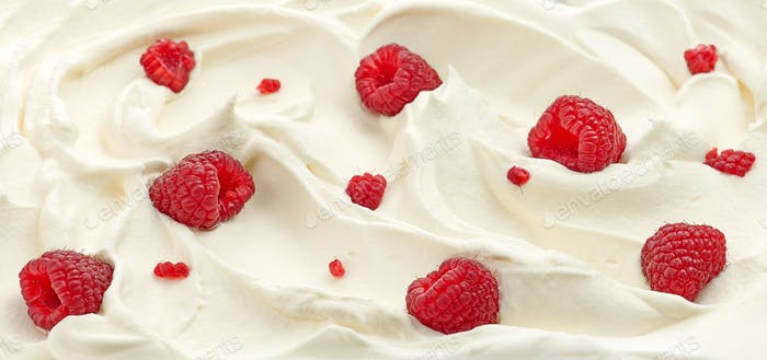 whipped cream with raspberries