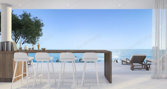 3D Rendering Dining Bar in kleiner Villa in der Nähe von schönen Strand und Meer am Mittag mit blauem Himmel