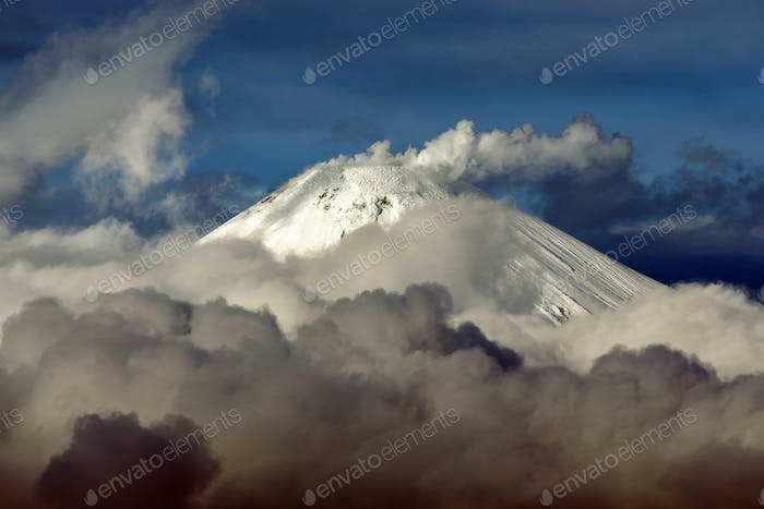 Cone of Active Avacha Volcano on Kamchatka Peninsula, Fumaroles Activity of Volcano