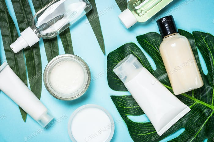 Skin care product, natural cosmetic flat lay