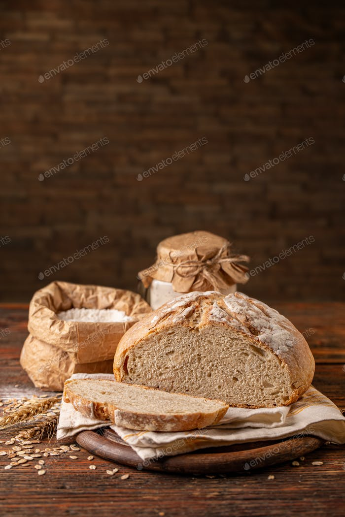 Artisan sliced sourdough bread