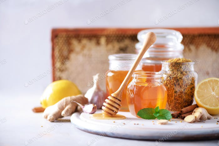 Ingredients for healthy hot drink. Lemon, ginger, mint, honey, apple and spices on grey background
