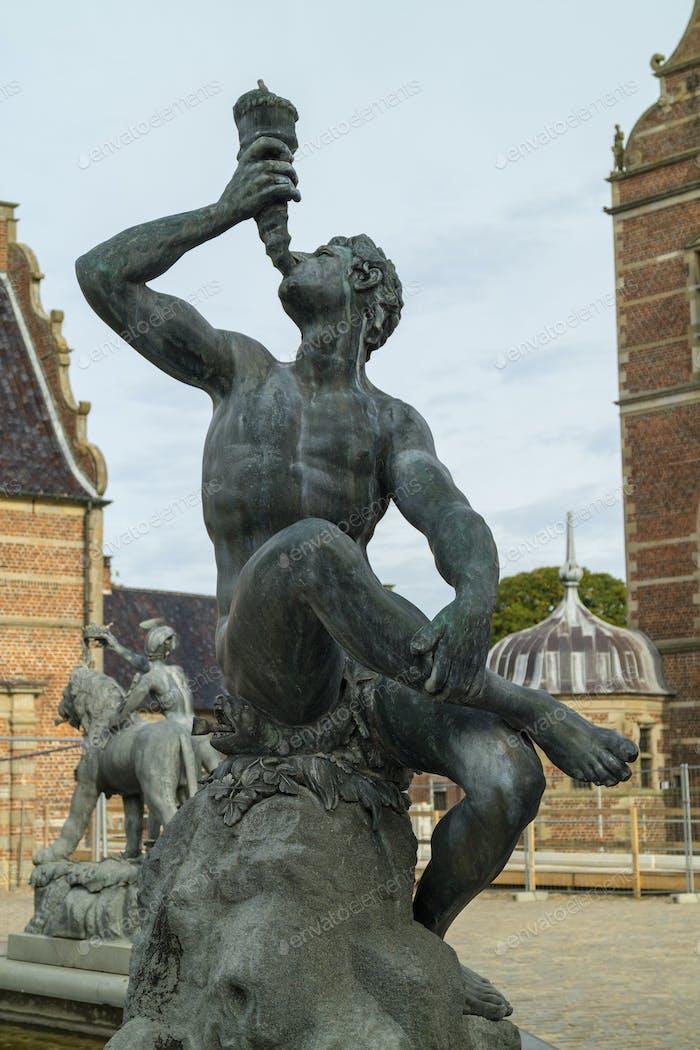 Detail of the Neptune Fountain in Frederiksborg Castle in Hiller