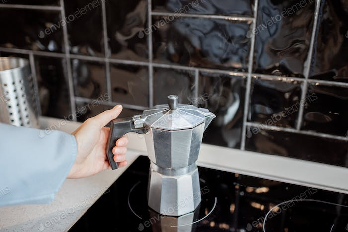 Coffee brewed in a geyser coffee machine