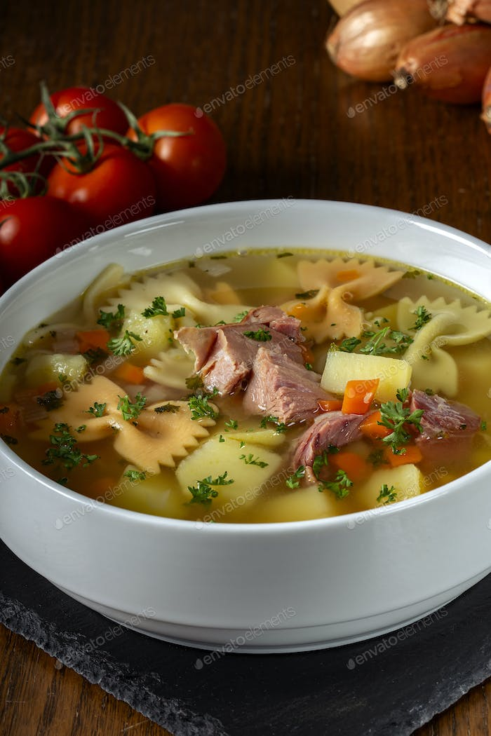 Soup with smoked meat