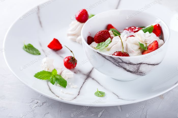 Eton Mess - Strawberries with whipped cream and meringue  Classic British summer dessert.