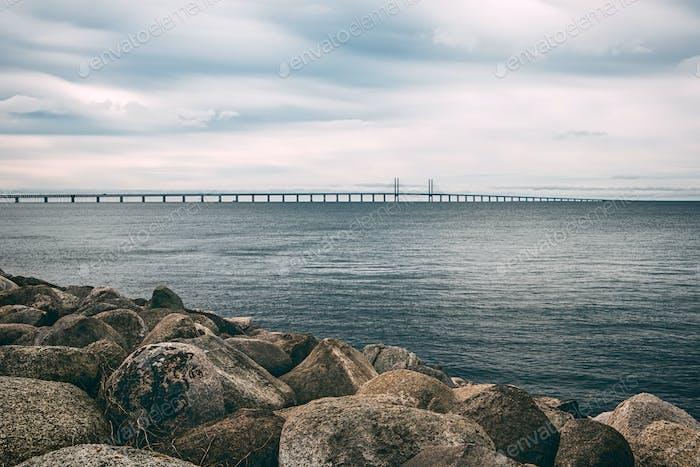 Rocks, sea and Oresund bridge