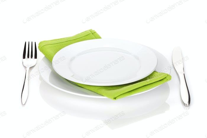 Besteck oder Besteck Gabel und Messer mit Tellern
