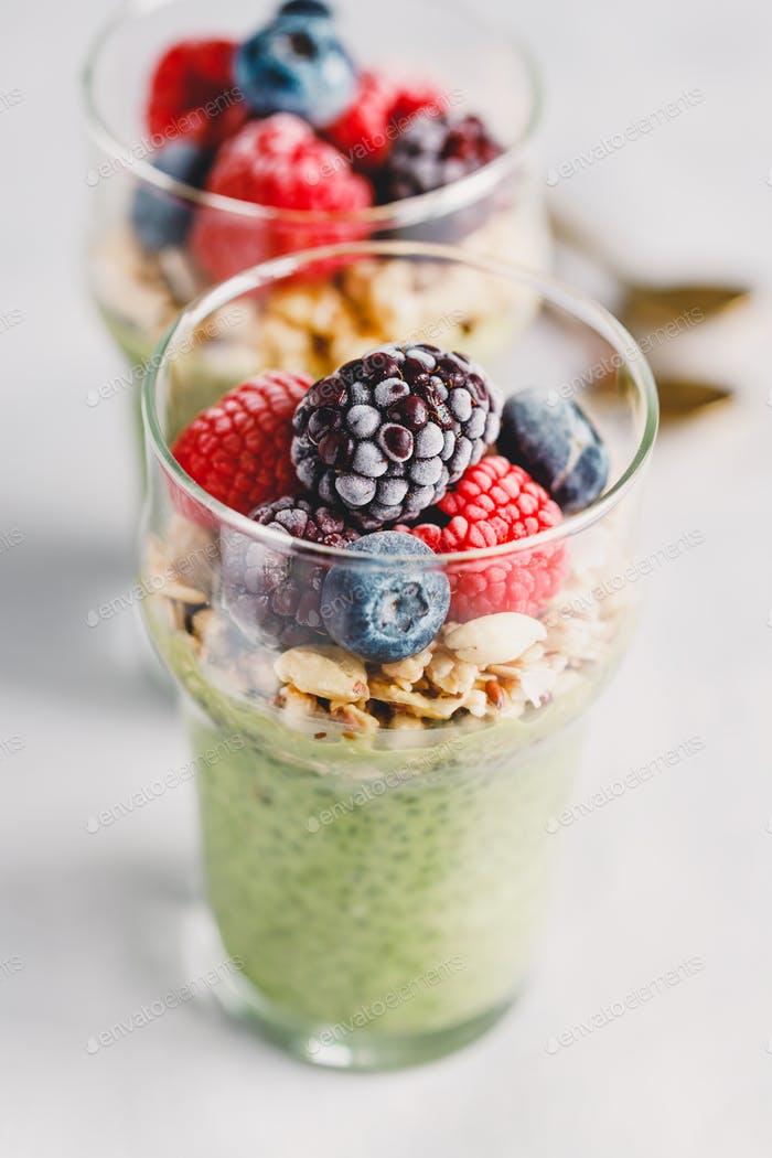 Chia pudding with matcha tea