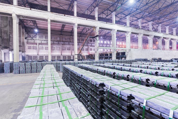 lead ingots in warehouse