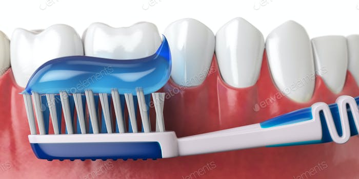 Human teeth and toothbrush with toothpaste. Oral hygiene concept