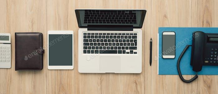 Flat lay office desktop