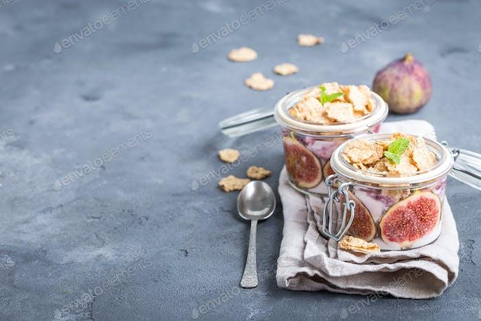 Yoghurt in jar with muesli