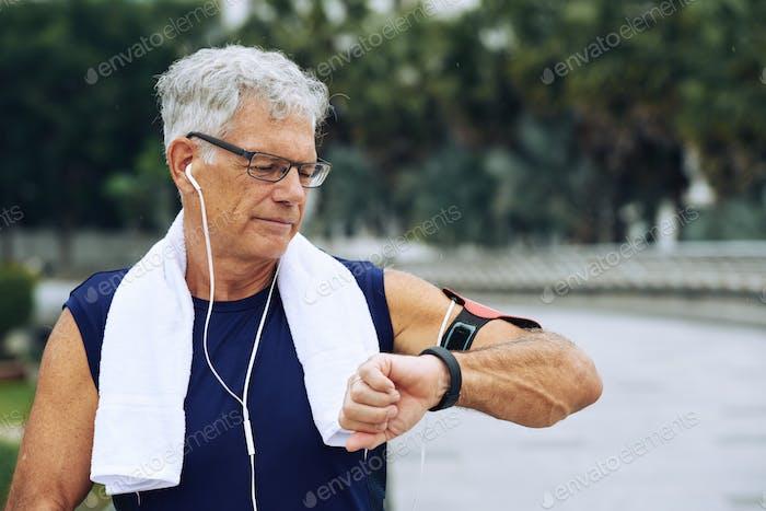 Checking fitness tracker