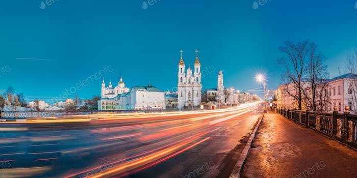 Vitebsk, Belarus. Evening Or Night View Of Famous Landmarks Is A