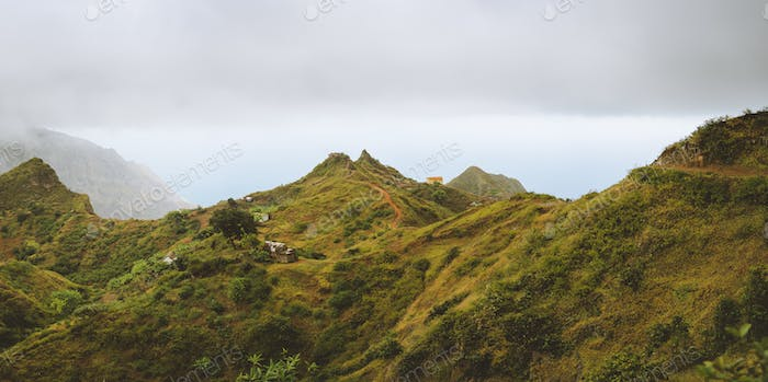 Panoramic view of mountain range of Ribeira de Janela on Santo Antao Cape Verde. Beautiful landscape
