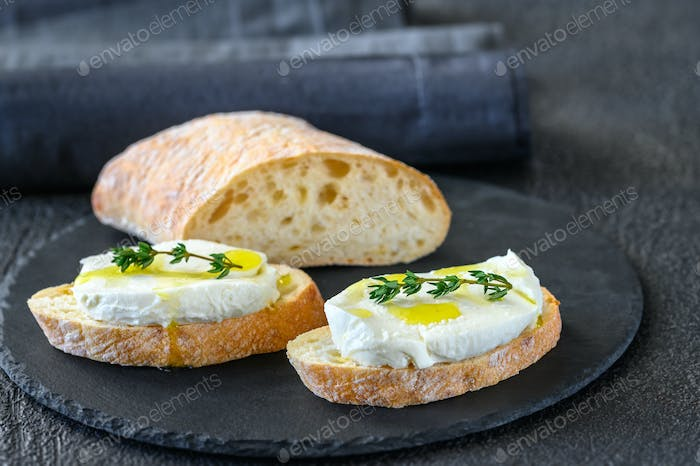 Sandwiches with ciabatta and mozzarella