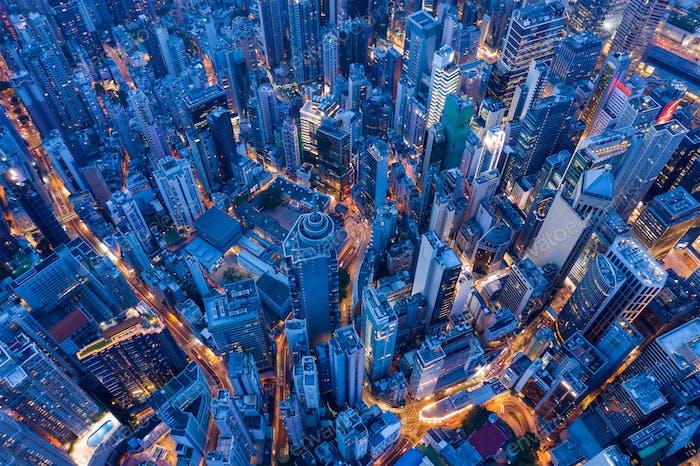 Central, Hong Kong 30 July 2020: Top view of Hong Kong city at evening