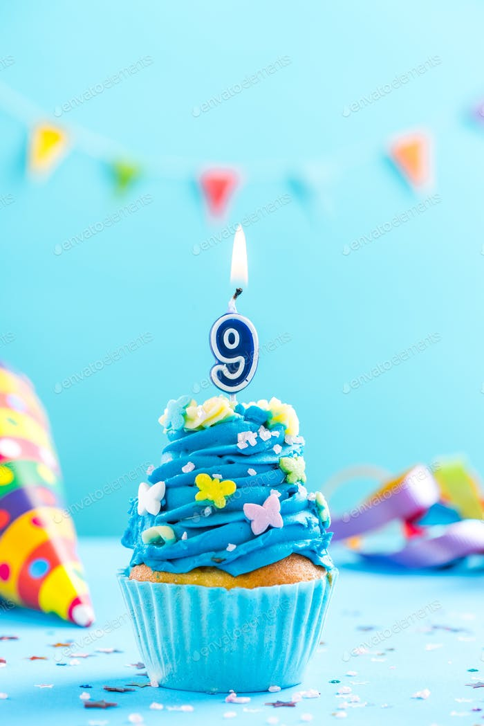 Ninth 9th birthday cupcake with candle. Card mockup.