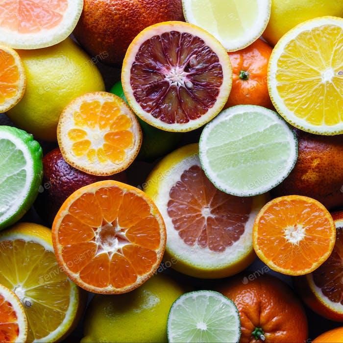 Mix of different citrus fruits closeup