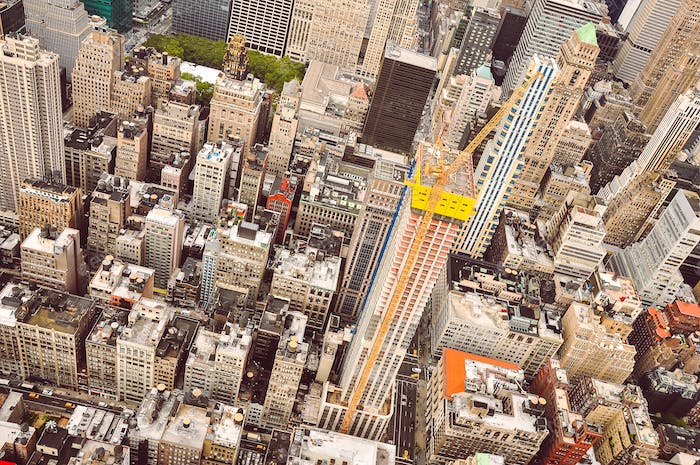Aerial view of Manhattan scyscrapers and residential buildings