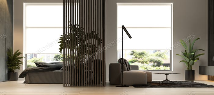Black minimalist Interior of modern living room 3D rendering