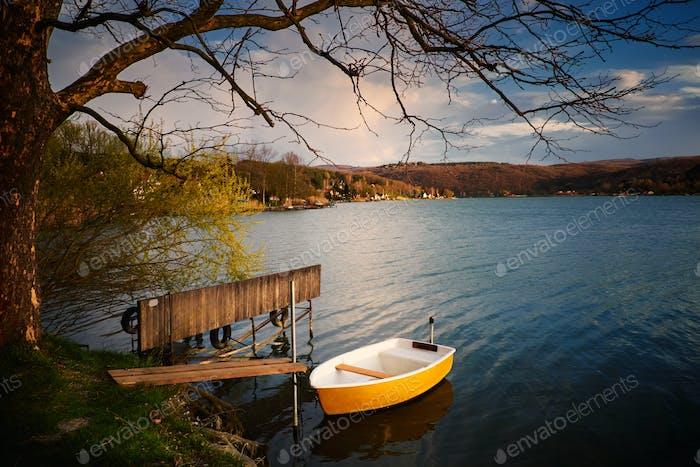 Boot See Sonnenuntergang Pier