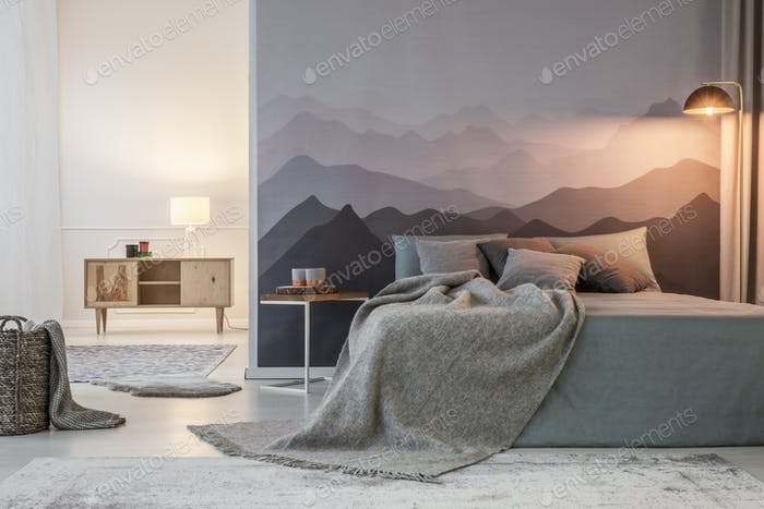 Grey bedroom interior with light