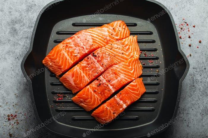 Delicious raw salmon fillet