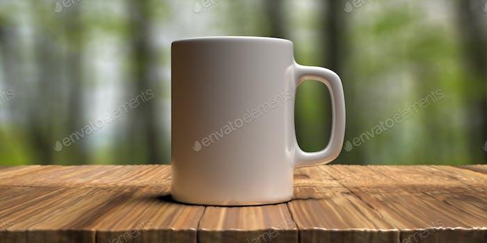 Coffee mug white color, nature green background. Hot beverage cup mockup template. 3d illustration
