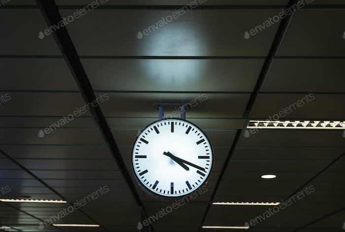 Clock on a train station