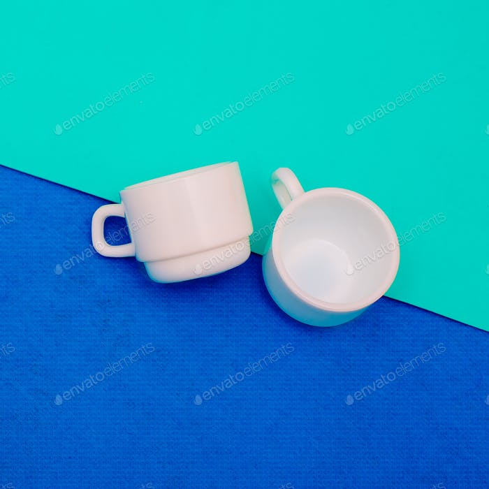 A pair of coffee cups. Minimal art design