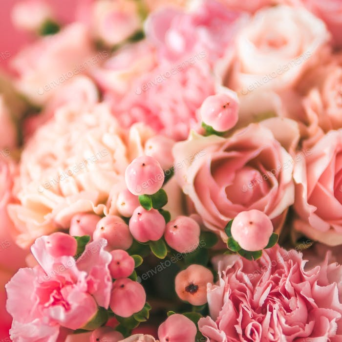 Nahaufnahme rosa Bouquet, Kopierraum