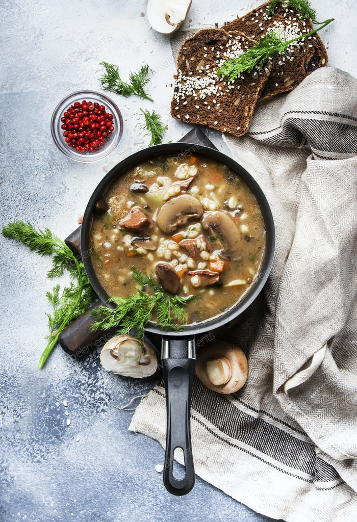 Autumn or winter meat vegetable mushroom hot soup