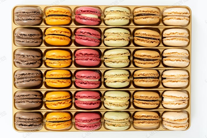 Box of french colorful macarons