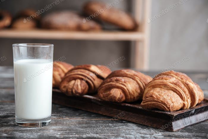 Croissants with milk at bakery