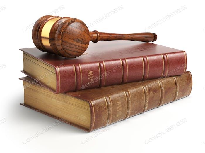 Gavel und Anwalt Bücher isoliert auf weiß. Justiz, Recht und Recht