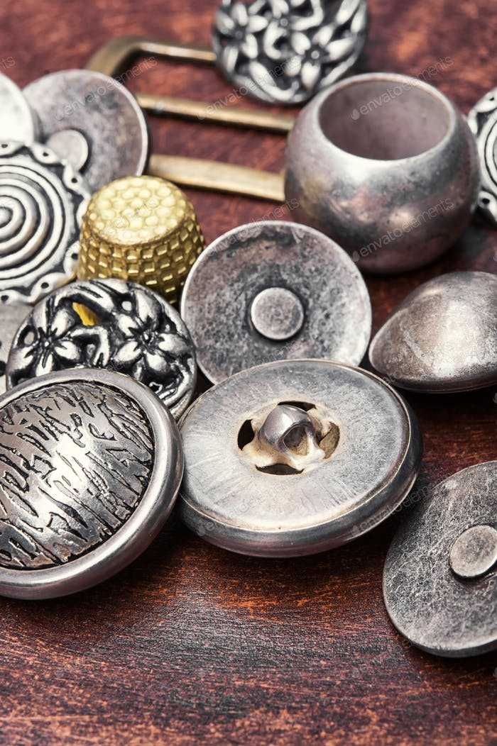 set of retro iron buttons