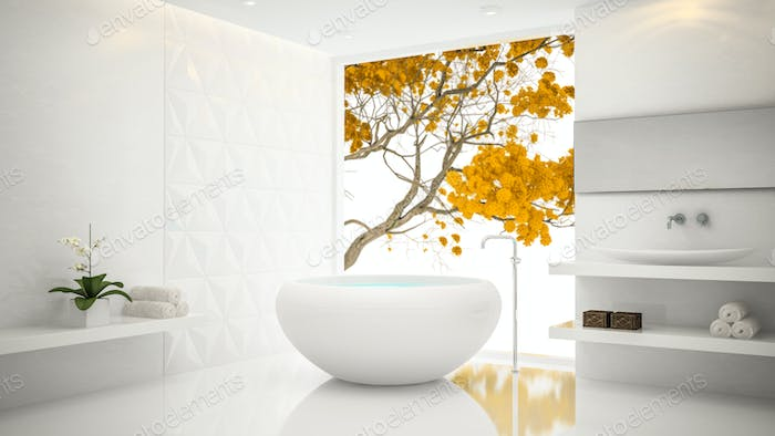 Interior of  white stylish bathroom 3D rendering 2