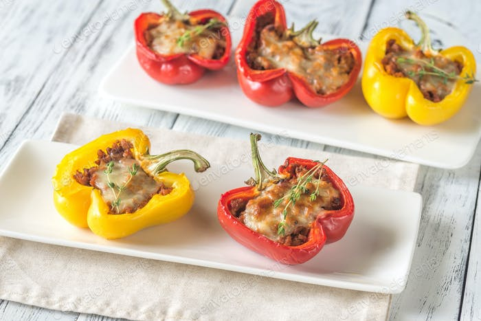 Stuffed peppers with meat and mozzarella