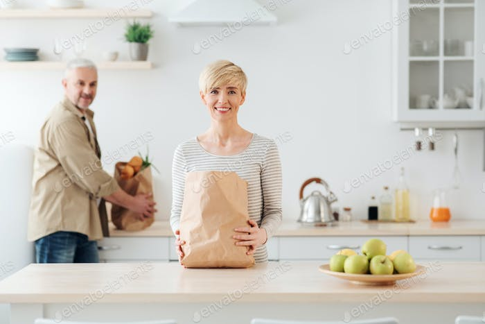 Family grocery shopping online. Return at home after market or grocery