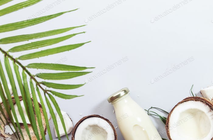 Coconut non dairy vegan milk in bottles