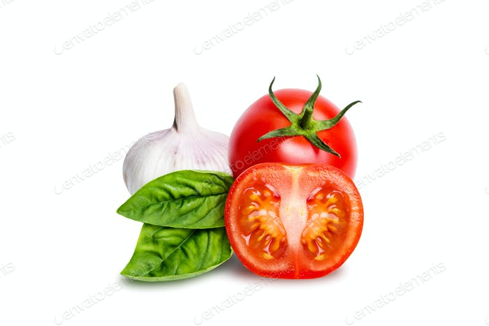 Isolated tomatoes, garlic and basil