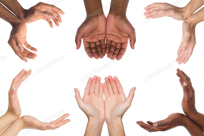 Set of multiethnic hands holding or offering something