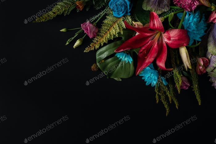 Creative layout made of flowers and leaves. Flat lay. Nature concept. Floral Greeting card.